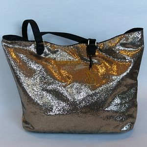 Victorias Secret Gold Glitter Tote Bag